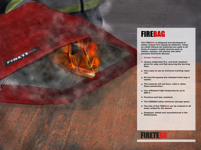 Firebag for FIRE Lithium-ion batteries developed by Firetexx