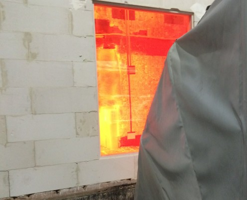 Heat radiation screen tested over 60kW/m2